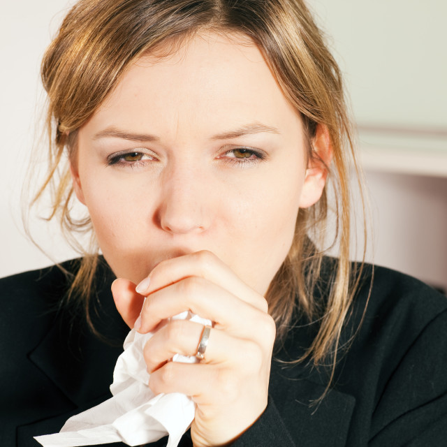 """""""Woman coughing"""" stock image"""