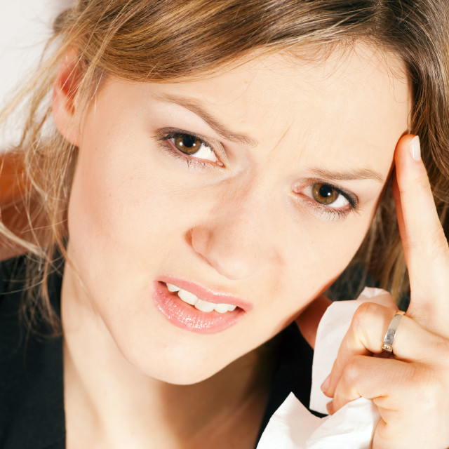 """Woman with headache"" stock image"
