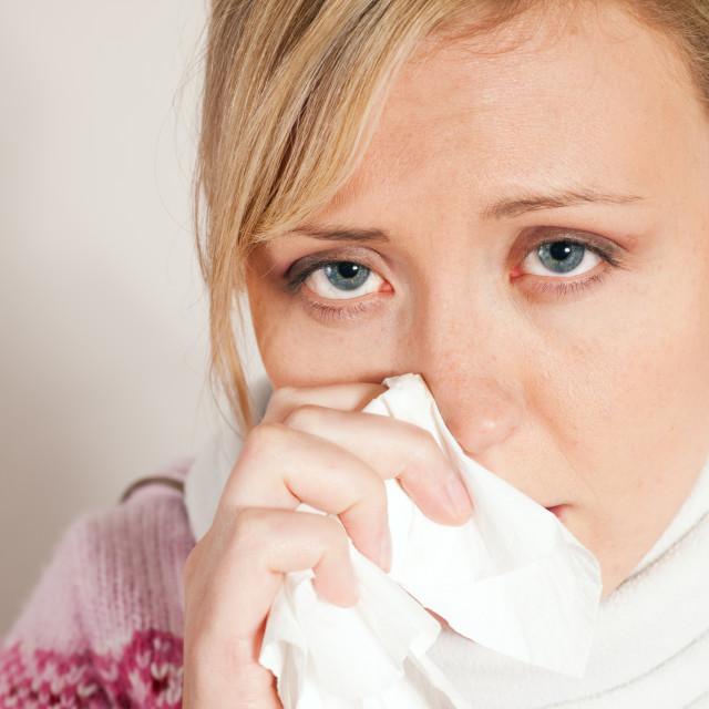 """""""Woman having a cold or flu"""" stock image"""