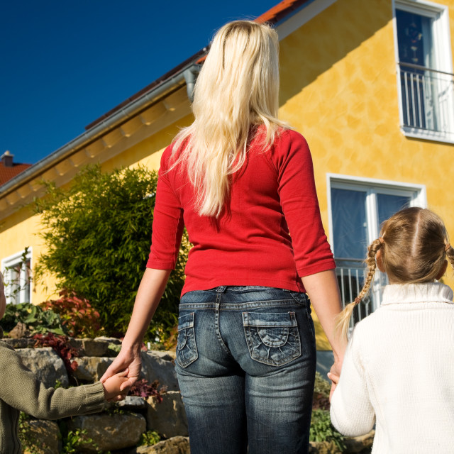 """""""Proud of the new home"""" stock image"""