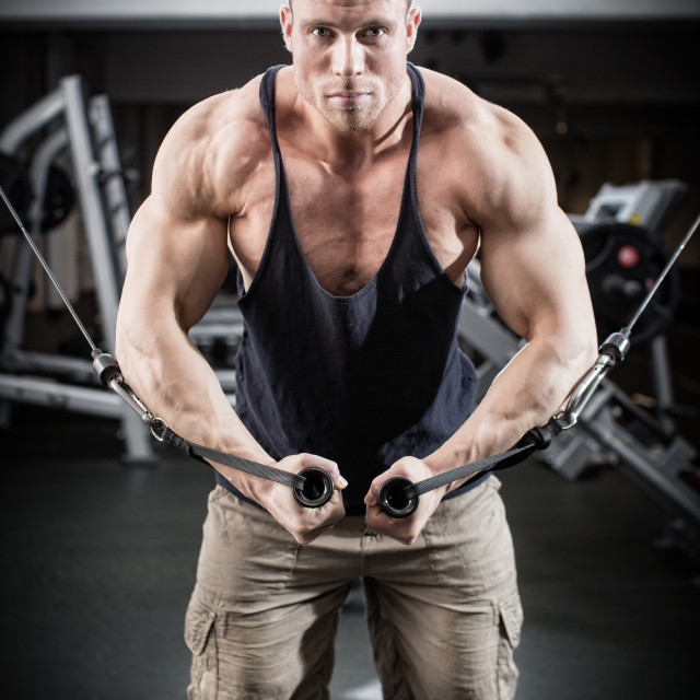 """Bodybuilder doing butterfly on cable pull"" stock image"