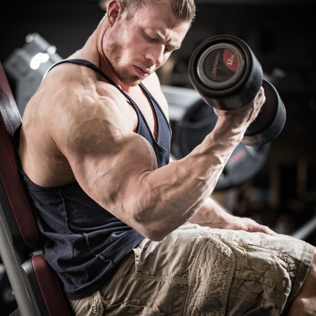 """Man at fitness training with dumbbells in gym"" stock image"
