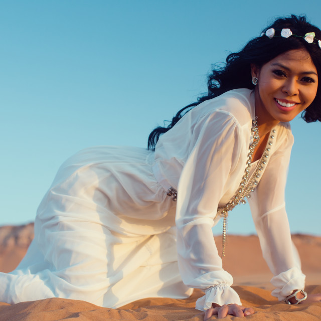 """Tourist woman in Arabian Desert on vacation"" stock image"