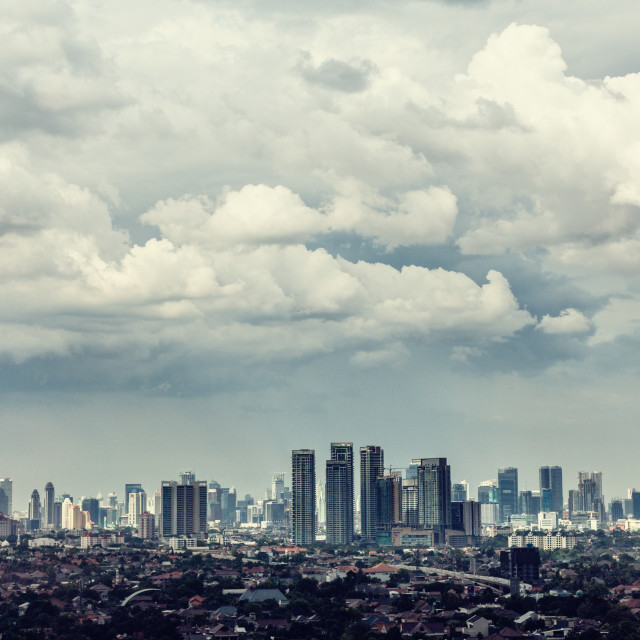 """Jakarta city view with Kampung in foreground"" stock image"