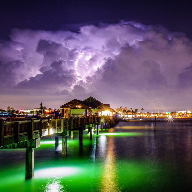 """Pier 60 Clearwater Beach Lightning Storm"" stock image"