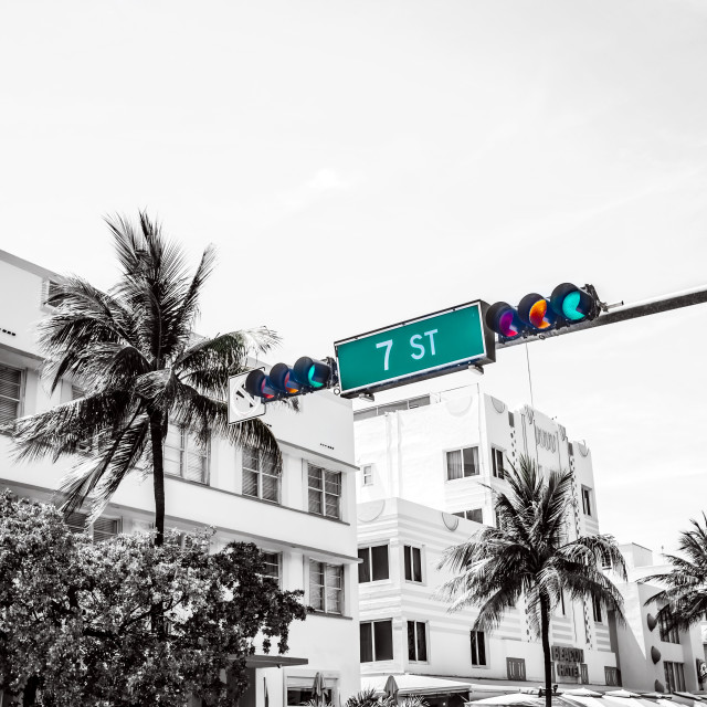 """South Beach Junction 7th Street Miami"" stock image"