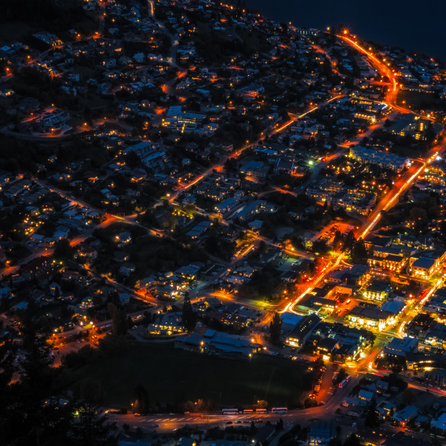 """Queenstown at night"" stock image"
