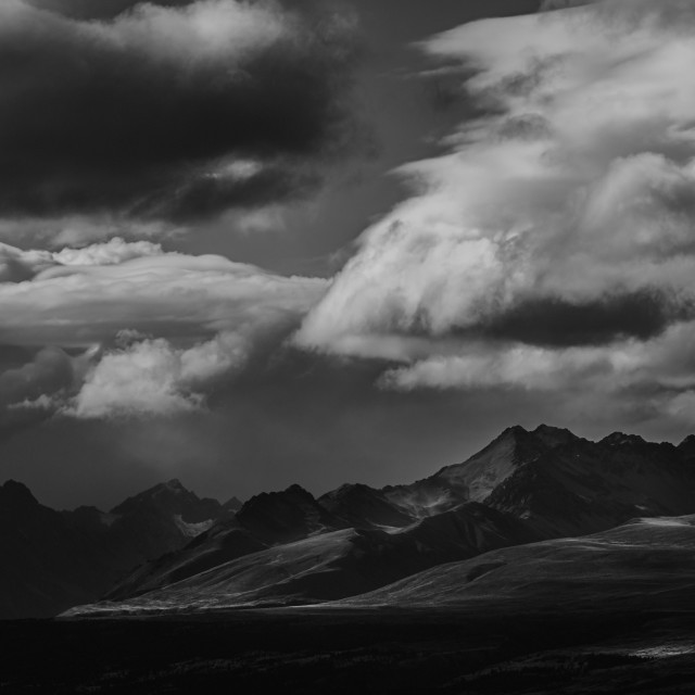 """Black & White Mountain Range"" stock image"