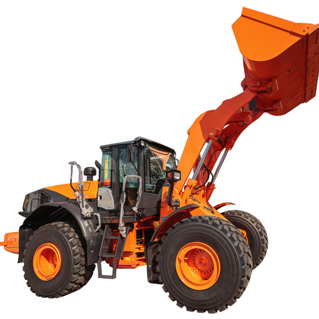 """Modern excavator bulldozer with clipping path isolated"" stock image"