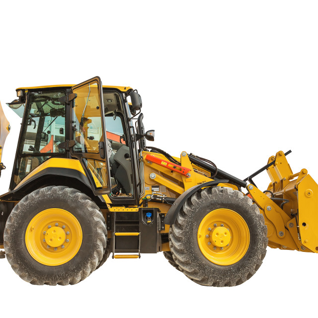 """Yellow bulldozer or backhoe loader isolated"" stock image"
