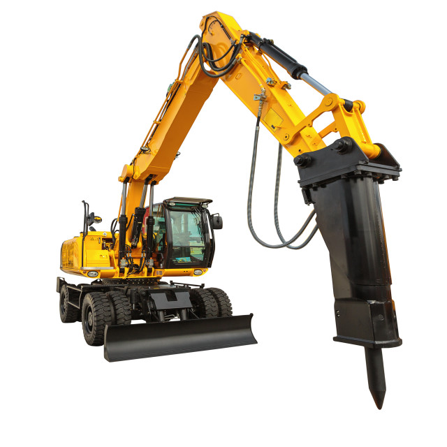 """Construction bulldozer and hydraulic breaker isolated with clipp"" stock image"