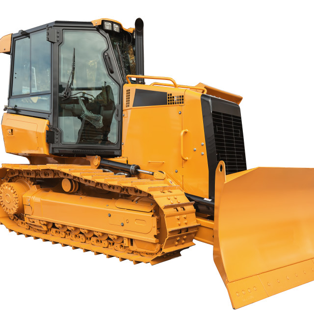 """Bulldozer excavator , isolated on white with clipping path"" stock image"