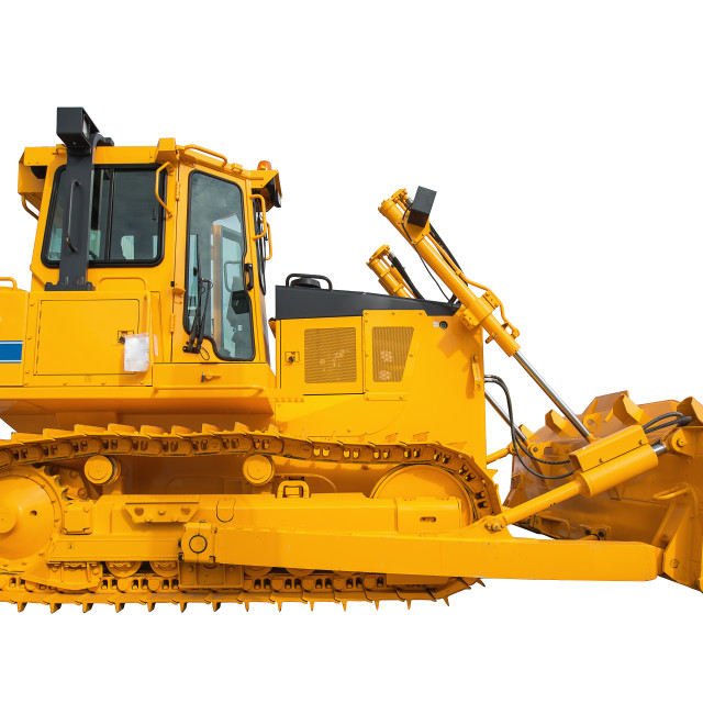 """New modern loader or bulldozer - excavator isolated on white bac"" stock image"