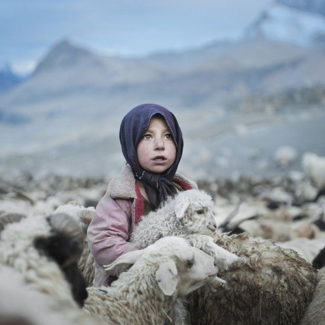 """Poor girl from Upper Shimshal village"" stock image"