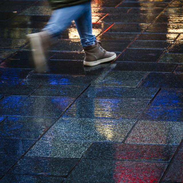 """""""Girl walking neon lights"""" stock image"""