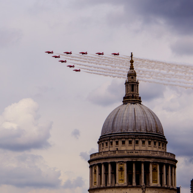 """Red Arrows over St Pauls"" stock image"