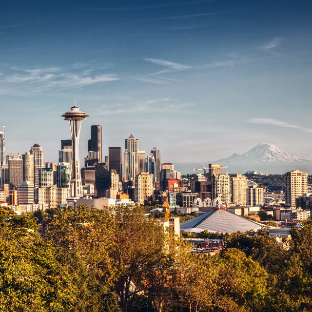 """Seattle Skyline and Mount Rainier"" stock image"