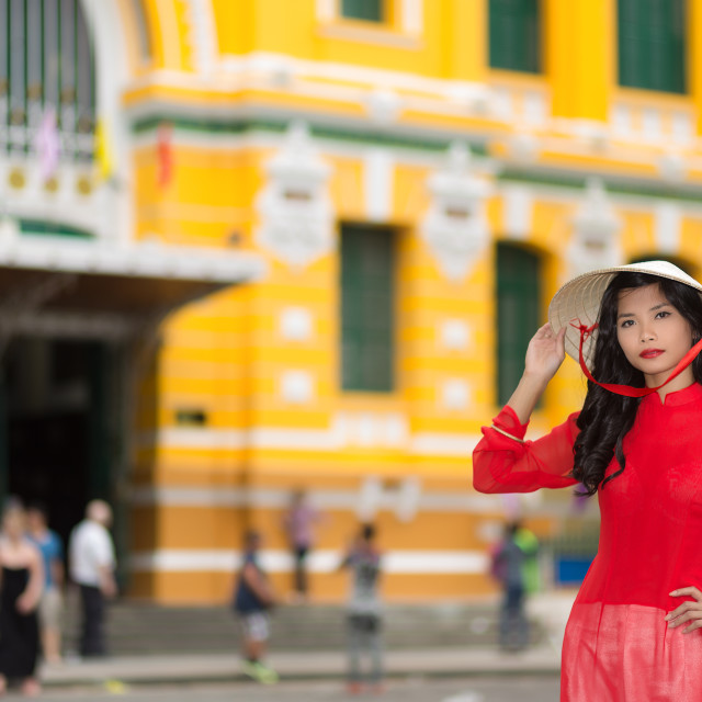 """Stylish young Vietnamese woman in red"" stock image"