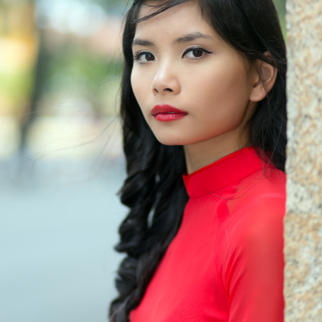 """Attractive serious young Vietnamese woman"" stock image"