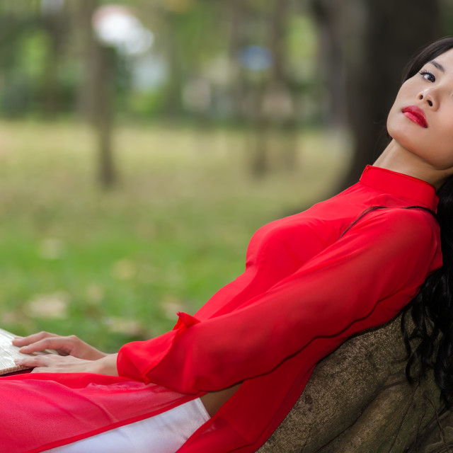 """Slender young Vietnamese woman relaxing in a park"" stock image"