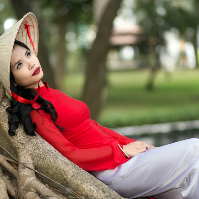 """Gorgeous young Vietnamese woman daydreaming"" stock image"