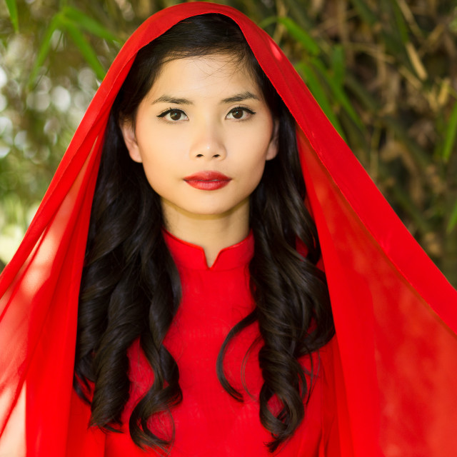"""""""Young Pretty Asian Woman with Red Head Scarf"""" stock image"""