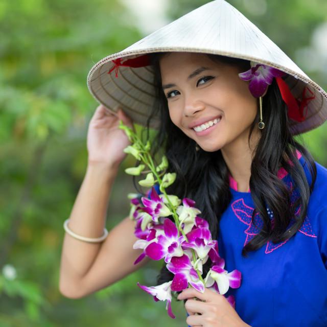 """""""Pretty Vietnamese woman"""" stock image"""