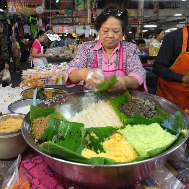 """Sticky rice seller"" stock image"