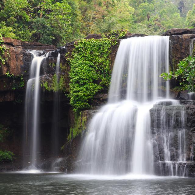 """Panoramic tropical waterfall scenery"" stock image"