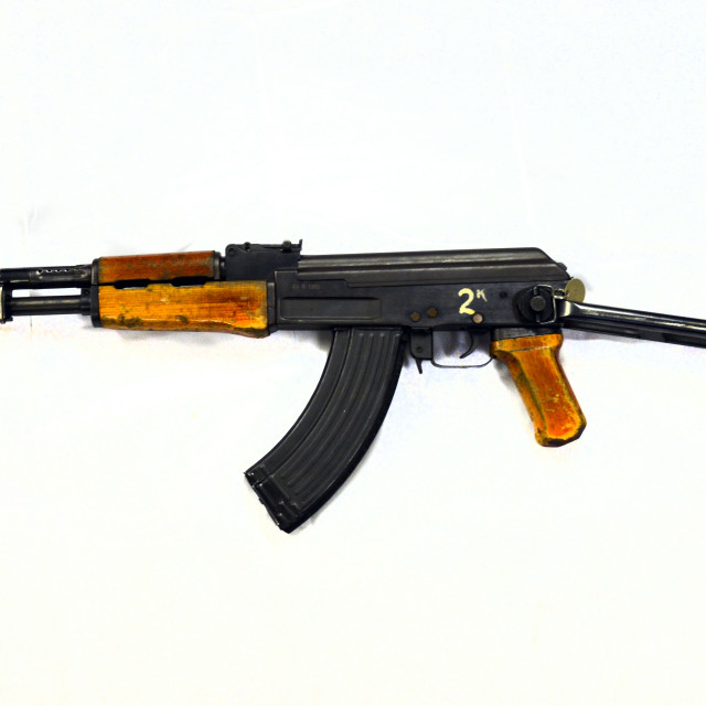 """AK47 7.62mm USSR 1974 onwards with folding metal butt"" stock image"