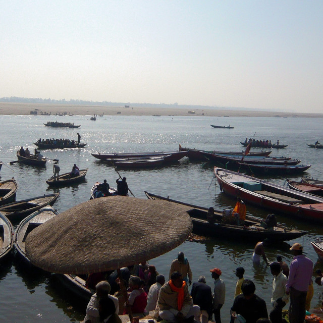 """Boats on Ganges, Varanasi, India"" stock image"