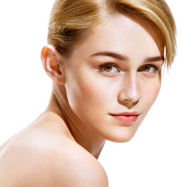 """Close up attractive blonde girl on white background. Youth and skin care concept"" stock image"