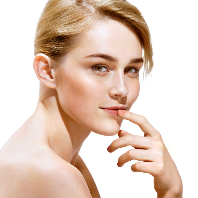 """Beauty. Sensual blonde girl on white background. Youth and skin care concept"" stock image"