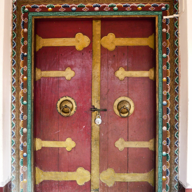 """Monastery door, India"" stock image"