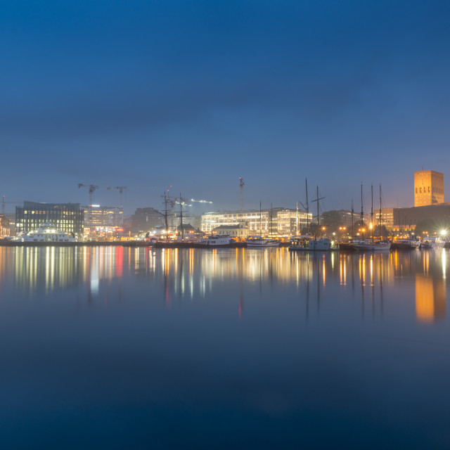 """Radhus/Town Hall at night, Oslo"" stock image"