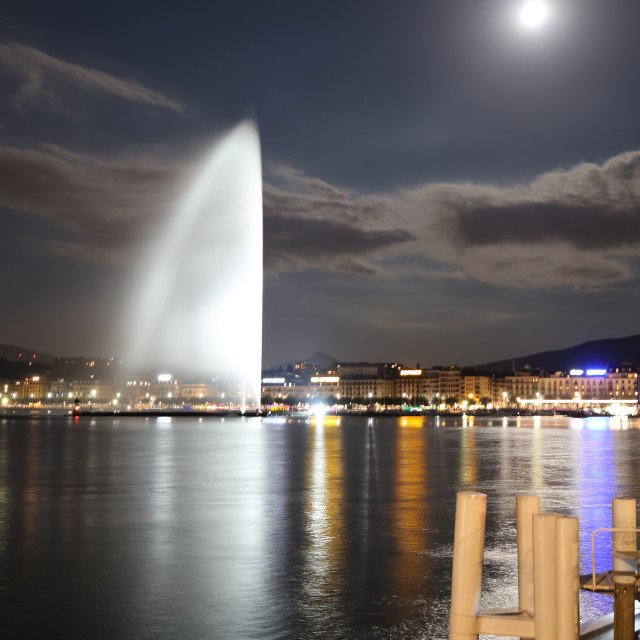 """""""Genève by night"""" stock image"""