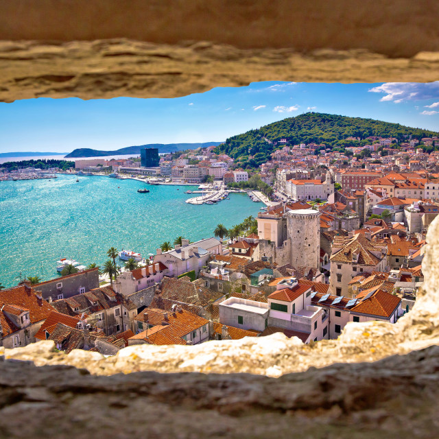 """Split bay aerial view through stone window"" stock image"