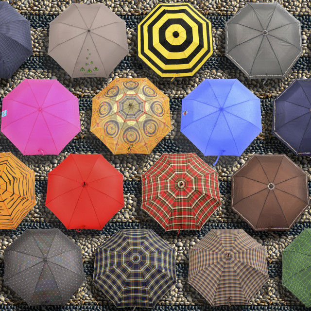 """multicolor umbrellas on a staircase"" stock image"