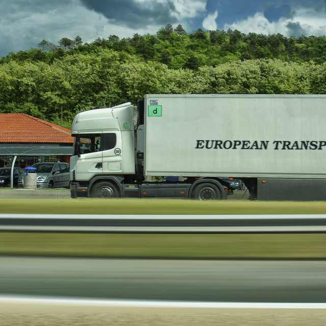 """truck on a motorway,motion shot."" stock image"