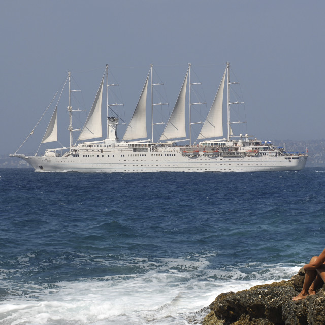 """Cruise ship ""wind surf"" in naples gulf,near Sorrento."" stock image"