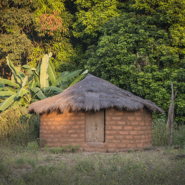"""A thatched hut in the village of Agande on Uno island on the Bij"" stock image"