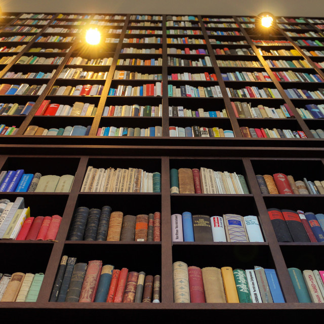 """""""Books on book shelf in library"""" stock image"""