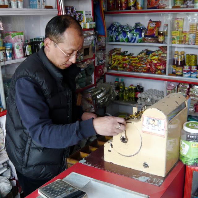"""Shopkeeper, Darjeeling"" stock image"