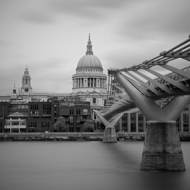 """St Paul's Cathedral and Millenium Bridge in London"" stock image"