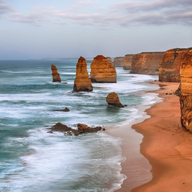 """Cloudy day in Twelve apostles sea rocks, Australia."" stock image"
