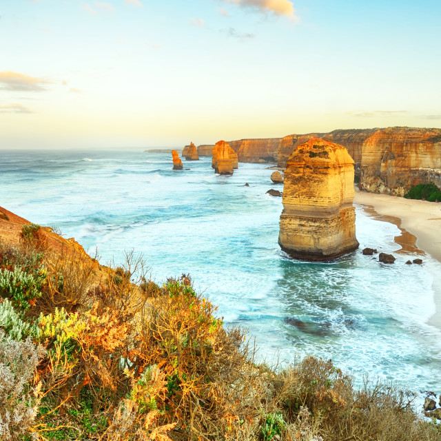 """Twelve apostles sunrise in Great ocean road"" stock image"