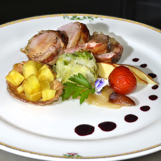 """""""veal medallion with crispy potatoes"""" stock image"""