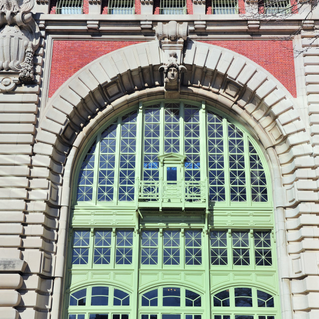 """New York City Ellis Island Great Hall arch window"" stock image"