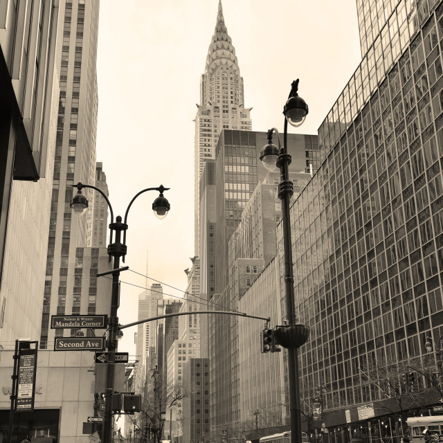 """42nd street in New York City Manhattan in black and white style"" stock image"