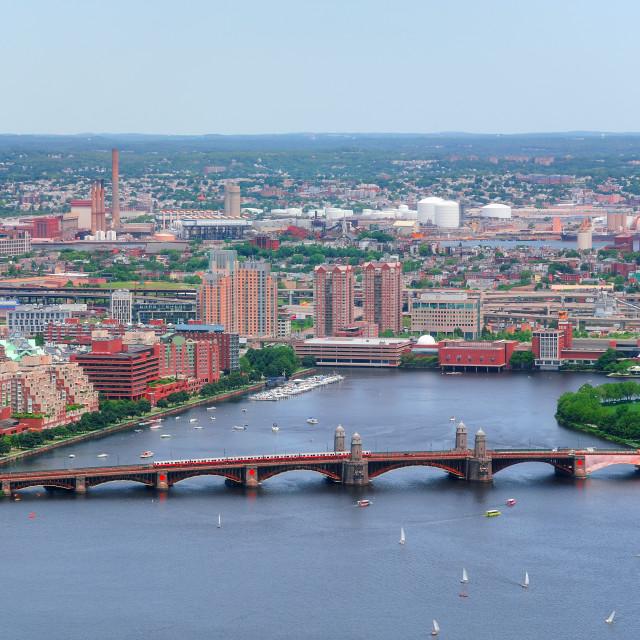 """Bridge over River in Urban city"" stock image"